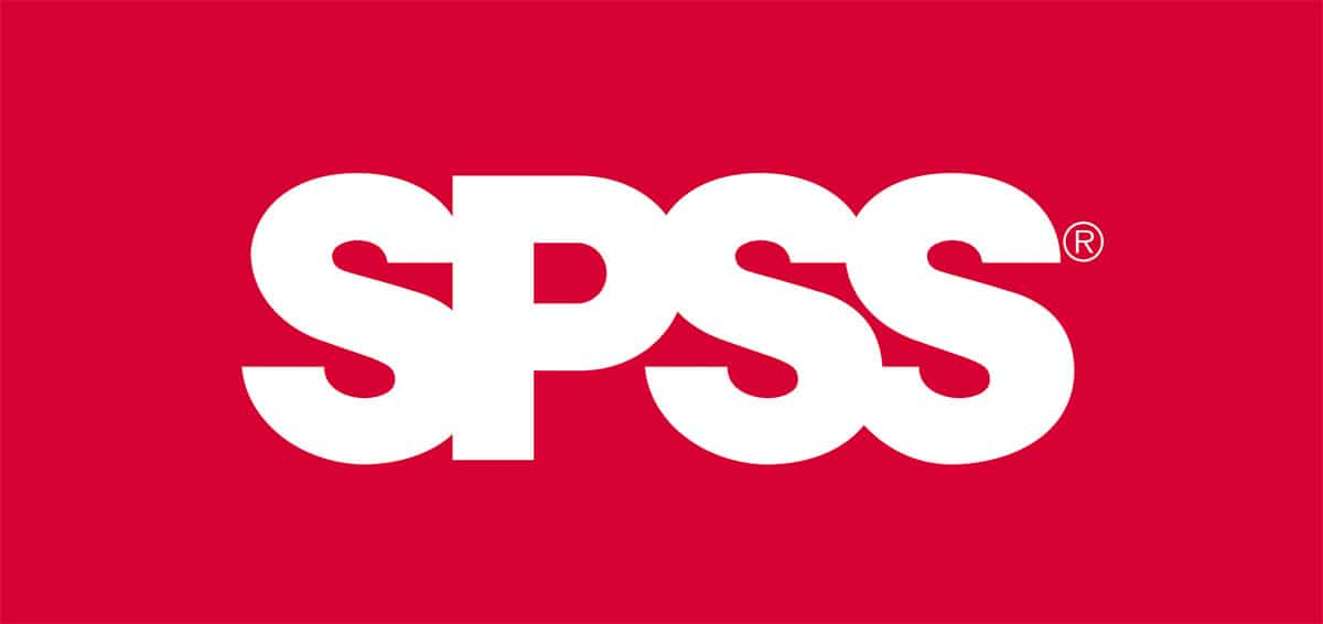 SPSS logo. Red background with white block lettering spelling SPSS.